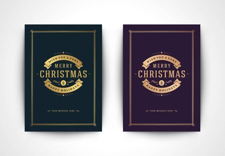 Christmas greeting card and ornate typographic winter holidays text Ilustrace