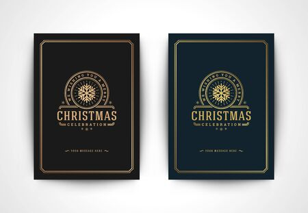 Christmas greeting card with snowflake silhouette and ornate typographic winter holidays text