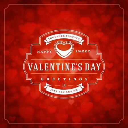 Happy Valentijnsdag wenskaart en bokeh harten licht vintage typografische wens ontwerp vector achtergrond. Valentijnsbadge voor print- of websitebannerontwerp.