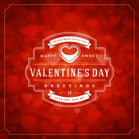 Happy valentines day greeting card and bokeh hearts light vintage typographic wish design vector background. Valentine badge for print or website banner design.