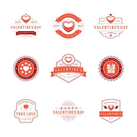 Happy valentines day greetings cards, labels, badges Illustration