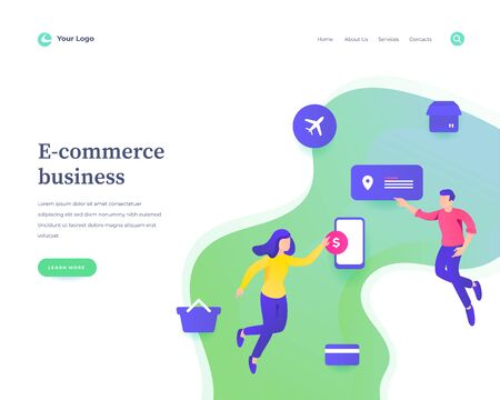 E-commerce business concept workflow flying or levitation people and interaction with social media icons. Landing page template. Vector illustration.