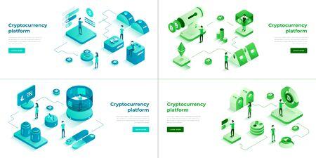 Cryptocurrency exchange and blockchain 3d isometric vector set.