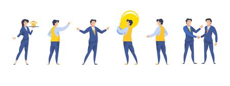 Business people set of diverse cartoon character isolated on white background vector illustration. Stock Illustratie