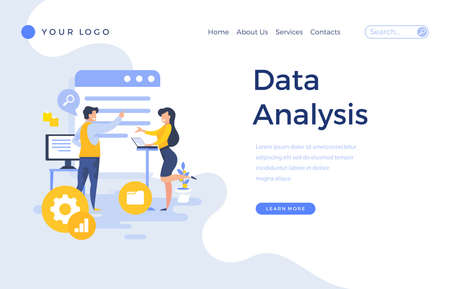 Landing page template data analysis concept with office people characters. Çizim