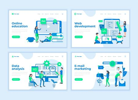 Landing page templates concept with cartoon office people characters.