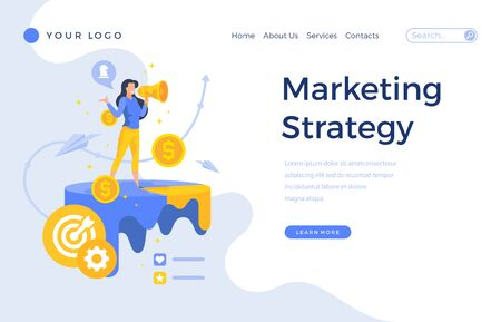 Landing page template marketing strategy concept with office female character. Modern flat design web page for website and mobile apps. Vector illustration