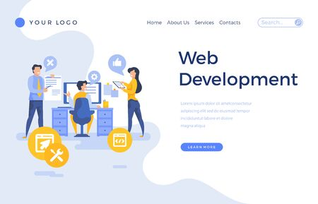 Landing page template web development concept with people characters.
