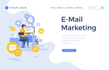 Landing page template e-mail marketing concept with office male character. Modern flat design web page for website and mobile apps. Vector illustration