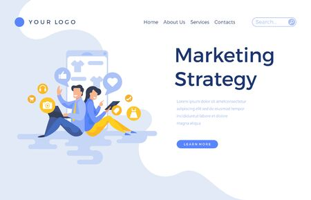 Landing page template marketing strategy concept with people characters. Modern flat design web page for website and mobile apps. Vector illustration