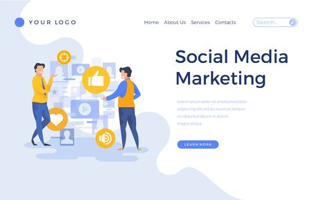 Landing page template social media marketing concept with office people characters. Modern flat design web page for website and mobile apps. Vector illustration Çizim
