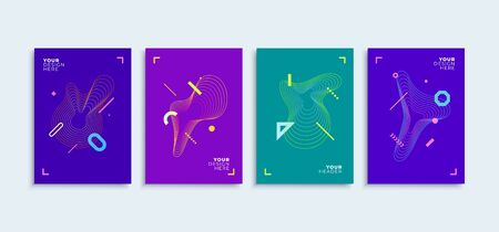 Modern abstract set flat geometric lines colorful shapes