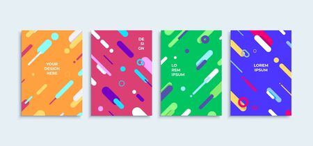 Modern abstract  vector posters or banners set flat geometric lines colorful shapes