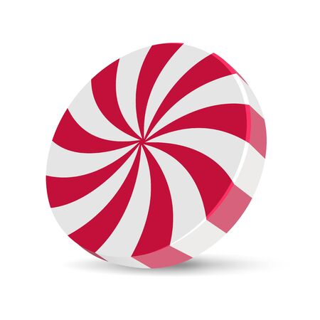 Red and white peppermint candy vector illustration