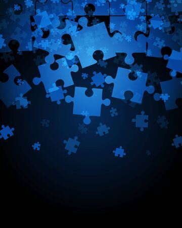 Pieces of puzzle falling down vector illustration