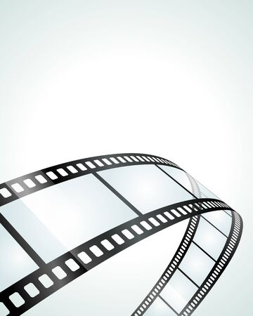 Vector illustration of piece of translucent and perforated obsolete roll film for old fashioned movie production curving on white background