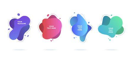 Modern abstract vector banners set flat geometric liquid blob shapes colorful colors Çizim