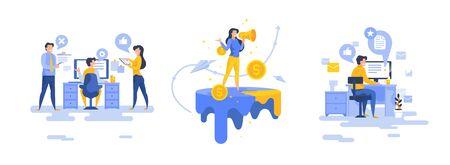 Modern people doing various office jobs set of vector illustrations flat cartoon men and women Vectores