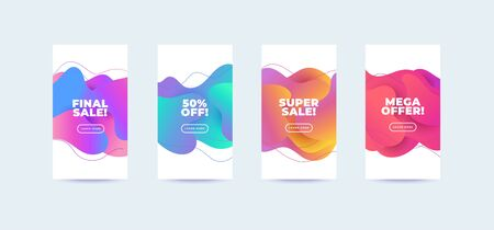 Modern abstract vector sale banners set flat geometric liquid blob shapes colorful colors