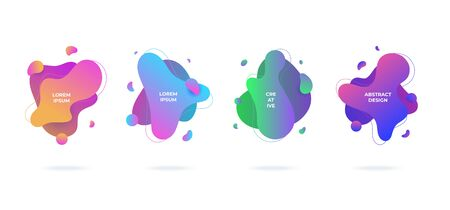 Modern abstract vector banners set flat geometric liquid blob shapes colorful colors Vectores