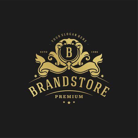 Luxury logo design template vector illustration victorian vignettes royal ornament shapes for logotype or badge design