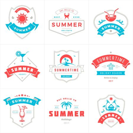 Summer holidays labels and badges typography vector design Çizim