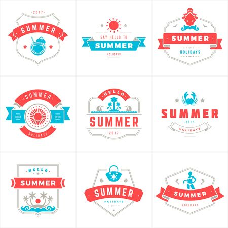 Summer holidays labels and badges typography vector design Vectores