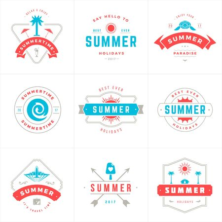 Summer holidays labels and badges typography vector design 矢量图像