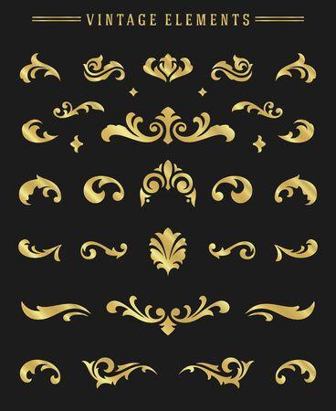 Vintage ornaments vignettes set floral elements for design invitations greeting cards