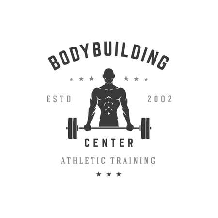 Bodybuilding training center vector silhouette logo. Male athletic character lifts heavy black barbell while pumping muscle relief.