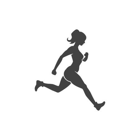 Sports woman engaged in jogging fitness vector logo. Female slender black silhouette runs sports marathon.