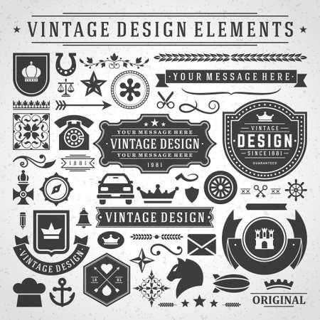 Vintage labels and badges design elements vector with typographic symbols. Vetores