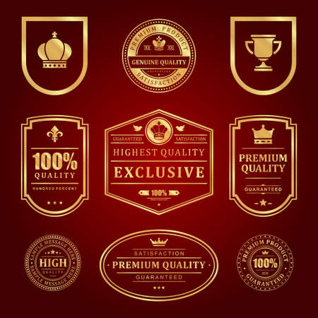 Gold frames premium vector labels and logos set
