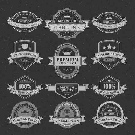 Vintage quality guarantee vector stickers and labels set