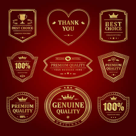 Gold frames premium vector labels and logos set.