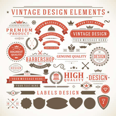 Vintage labels and badges design elements vector with typographic symbols 矢量图像