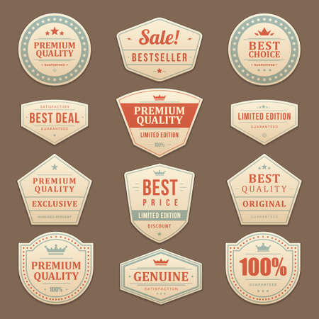 Vintage sale advertising vector labels and stickers set 矢量图像