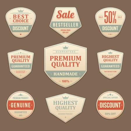 Vintage sale advertising vector labels and stickers set