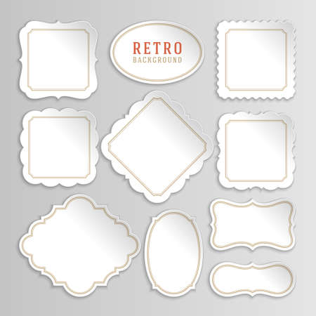 Vintage openwork white vector stickers and labels set