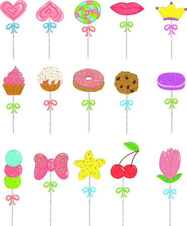 15 lollipops hearts, sweets, cookies, star, and more for children or teens.