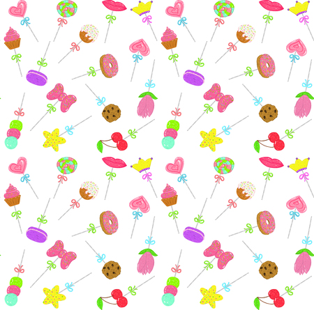 seamless background pattern with sweets for children