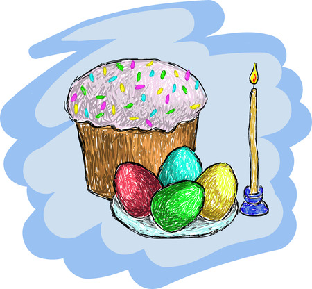 Easter set: eggs, bread, candle. Vector illustration.