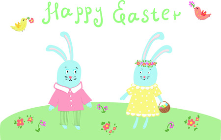 two Easter bunnies congratulating each other on Easter with colored eggs Vectores
