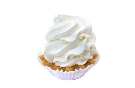 isolated cake with cream white. Delicious birthday cupcake on white background