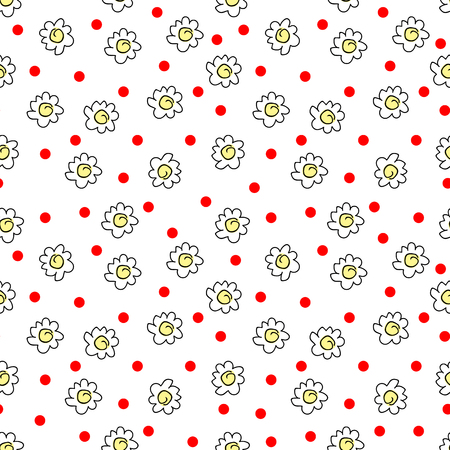 simple seamless vector background chamomile drawing, red and yellow flowers simple, easy simple drawing background Illustration