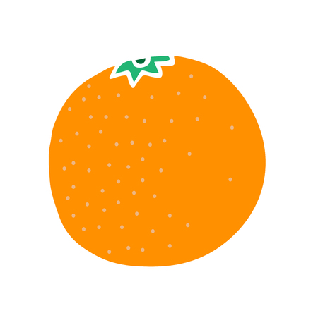 tropical fruit, tangerine, cute vector orange for children learning, for design, illustration of books