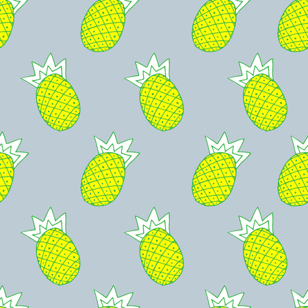 vector seamless fashionable blue background gentle light, illustration of pineapple on gray background