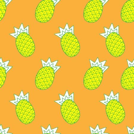 illustration of pineapple on orange background, vector seamless fashionable background