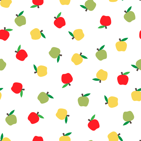 seamless bright fruits background with colored apples. Autumnal seasonal background, school.