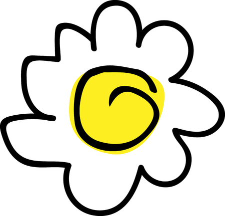 Children's flower pattern, for logo and design, simple vector drawing of chamomile yellow.